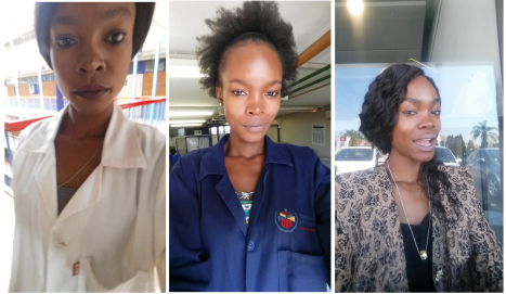 Mathapelo with and without the lab coat